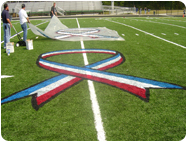 Removable field marking paint.