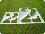 Two heights of Number Football Field Number Stencils.