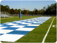 football end zone painted with field paints.